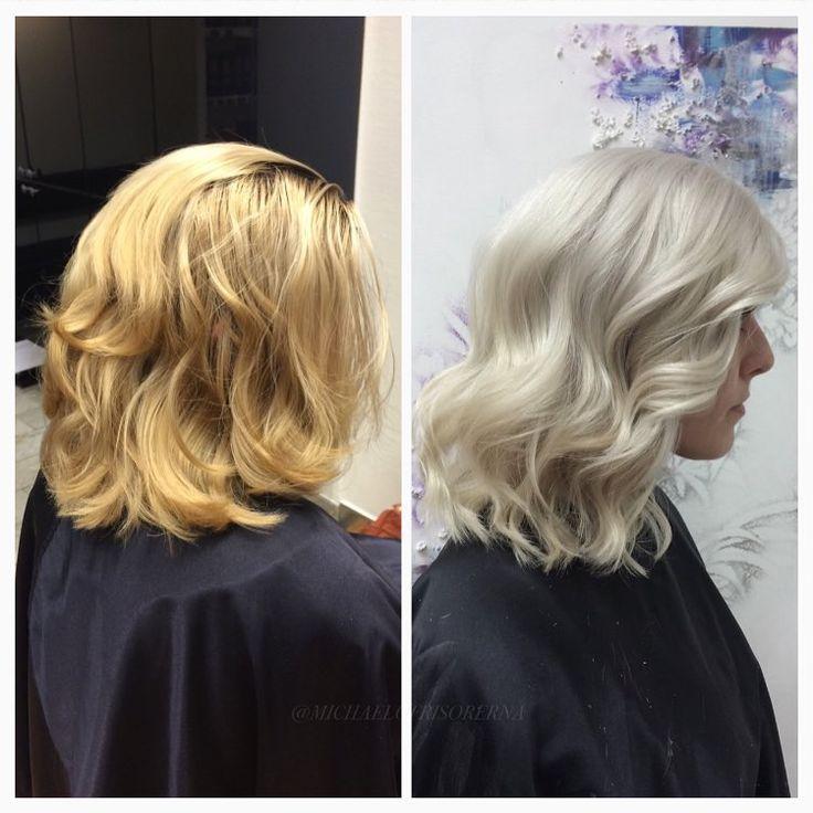Från blond till BLOND. Michael gör detta som vanligt magiskt bra! Han bleker hela håret med olika styrkor på blekningen för att få ett perfekt resultat från rot till topp! Använder såklart olaplex för att skydda håret från onödigt slitage och avslutar med en iskall nyansering som lämnar håret glansigt och starkt! ❄️ #iceblonde #olaplex #grannygray