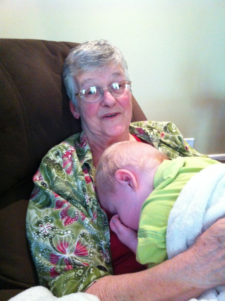 Great Nana with Quinny.  I think he is comfy!