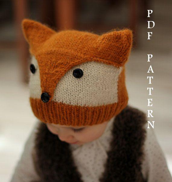 """Patron tricot bonnet """"Foxy & Wolfie"""" (tailles: Tout Petit, Enfant, Adulte), 4,50€"""