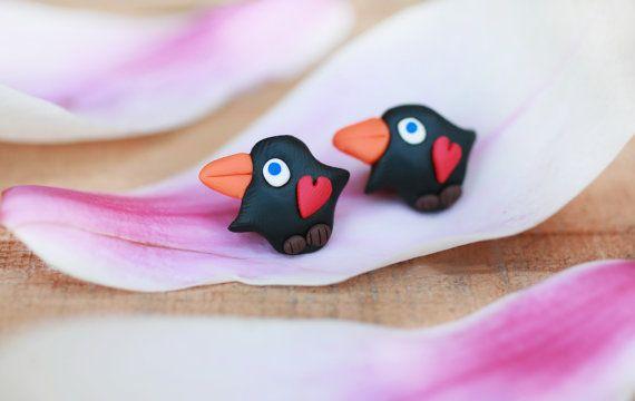 Valentines women earrings Handmade girls bird by handmadeBYmamas