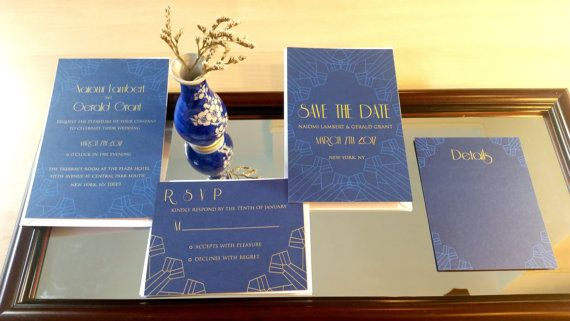 Modern Vintage Invitation suite-Blue, art deco gold invitation suite, vintage wedding stationery suite