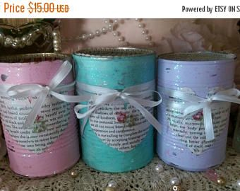 ON SALE 3 Shabby Cottage Chic Painted Tin Cans..Pink, Lavender, Teal..Book Page Heart Art, Glitter..Vases, Centerpieces Teacher Gift for Her