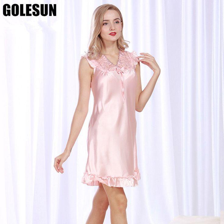 women spring and summer women spun silk nightdress lady lace sexy nightgown leisurewear Women's sleep shirts.