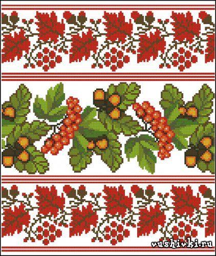 схемы вышивки крестом листья