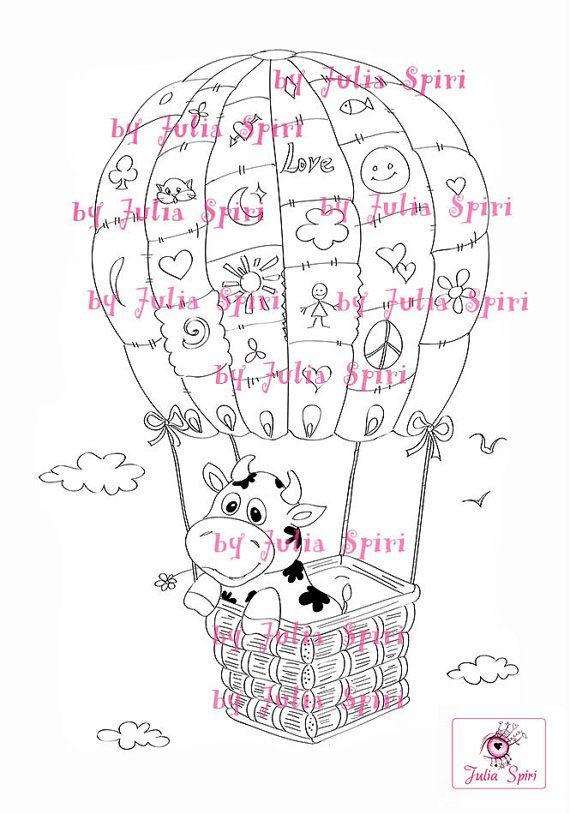 Páginas para colorear, Ilustraciones infantiles, Álbum de recortes, Imagen digital, Descarga instantánea. Vaca en globo.