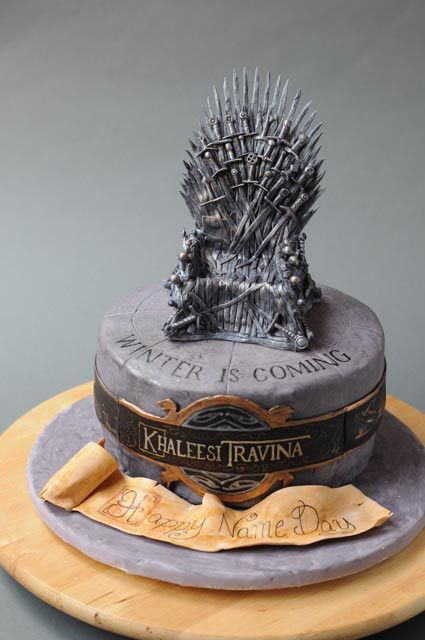 A Game of Thrones cake made by Caralin Fleet of Cakes by Caralin. Remarkable.