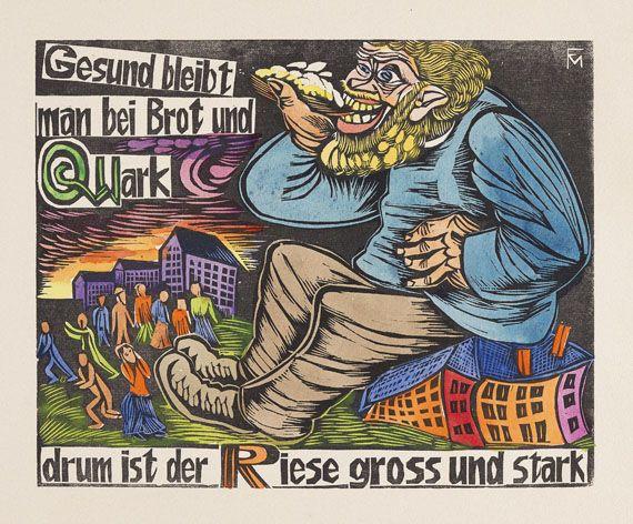 Felixmüller, C. und L., ABC. Ein geschütteltes, geknütteltes Alphabet in Bildern mit Versen. Zweifarb. Holzschnitt-Titel und 15 eigh. kolorierte sign. Holzschnitt-Tafeln von C. Felixmüller. (Dresden, Selbstverlag) 1925