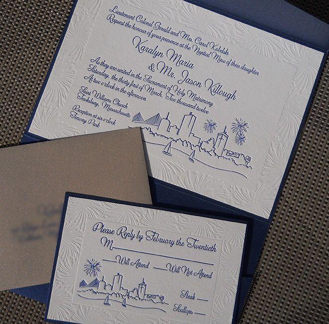 Letterpress Boston skyline wedding invitation and reply cards. Metallic blue folder and gold envelope.