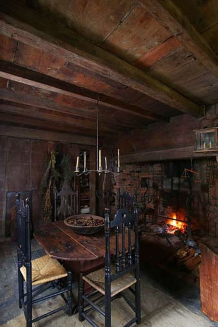 William Haskell House, 1652-93, a First Period Colonial American house in Gloucester, Massachusetts, the Old Kitchen.