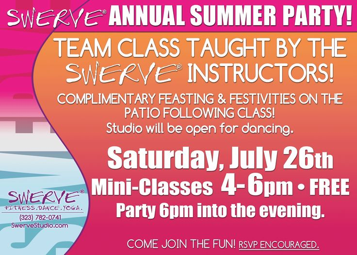 FREE CLASS & PARTY AT SWERVE!!  www.swervestudio.com