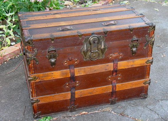 Antique Steamer Trunk Chest Flat Top With Original Working