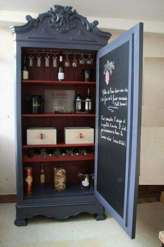 wine bar ... the cabinet is a little too fancy for me but I love the blackboard inside