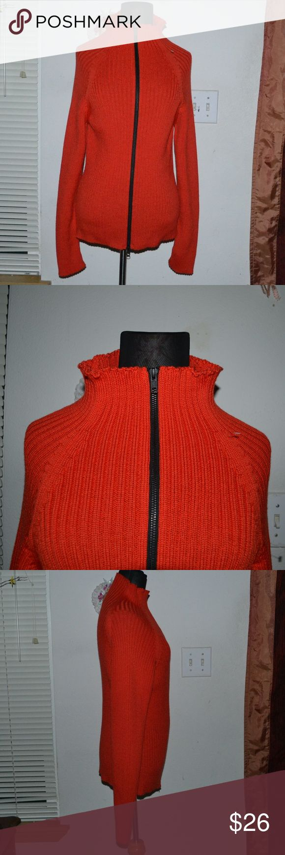 Poy Poy Copenhagen pure new wool sweater I ship Monday - Friday! sometimes Saturday <3 No holds or trades!   A beautiful vibrant redish orange zipped up sweater by the brand Poy Poy Copenhagen. In excellent condition. thick & a bit heavy. Size L/XL. Materials: 100%  pure new wool Poy Poy Copenhagen Sweaters