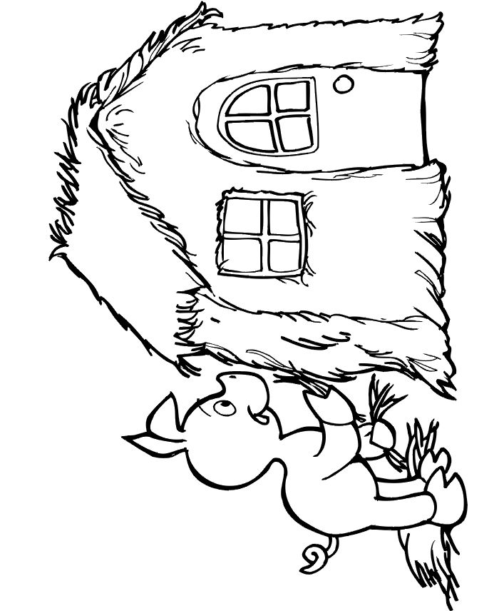 Three little pigs coloring page: The first pig finishes his straw house.