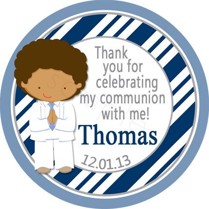 First Communion Boy Personalized Stickers Trendy Navy Diagonal Stripes  - Party Favor Labels, Confirmation, Holy  - Wide Border Design by partyINK on Etsy