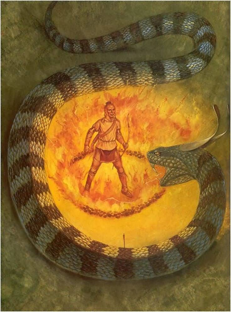 The Cherokee tell the myth of horned snakes which seduced people into running towards them instead of away from them. One day, a Shawnee youth who is a Cherokee prisoner is told that he can go free if he can kill a horned snake. He shoots a snake in the head and then jumps into a ring of fire in order to protect himself from the snake's poison. The snake is unable to reach him. The Cherokee give him his freedom. This myth shows the value that the Cherokee Indians placed on bravery.