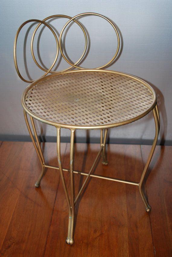 Vintage Metal Vanity Chair Goldtone Curved Circular