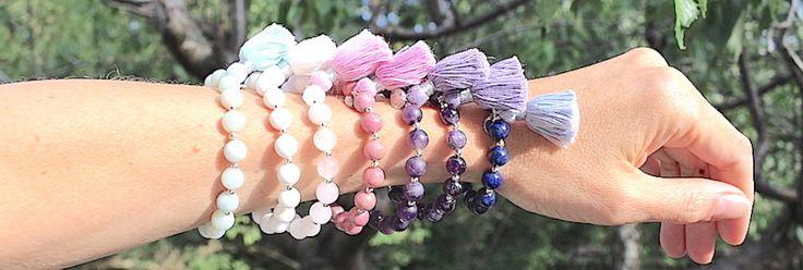 Love tassels! Mala bracelets in different beautiful gemstones, available at www.minimala.se