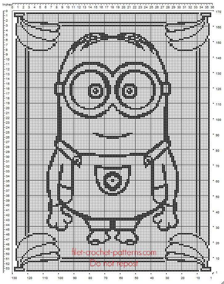 Baby blanket free crochet filet pattern with Minion Dave from Minions