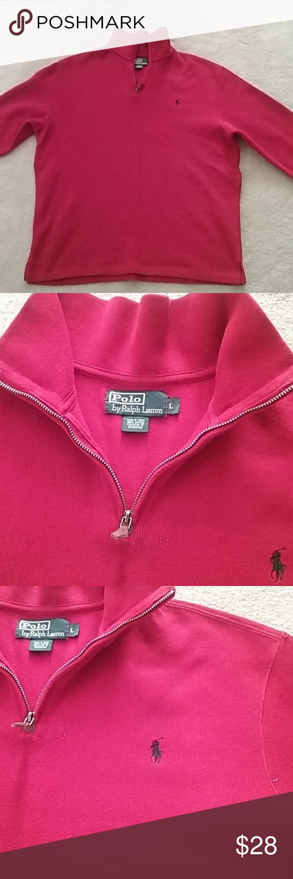 Men's Ralph Lauren half zip sweater size Large In great condition.   Only worn twice.   Size Large.   From a pet/ smoke free home.  Washed in organic laundry detergent Ralph Lauren Sweaters