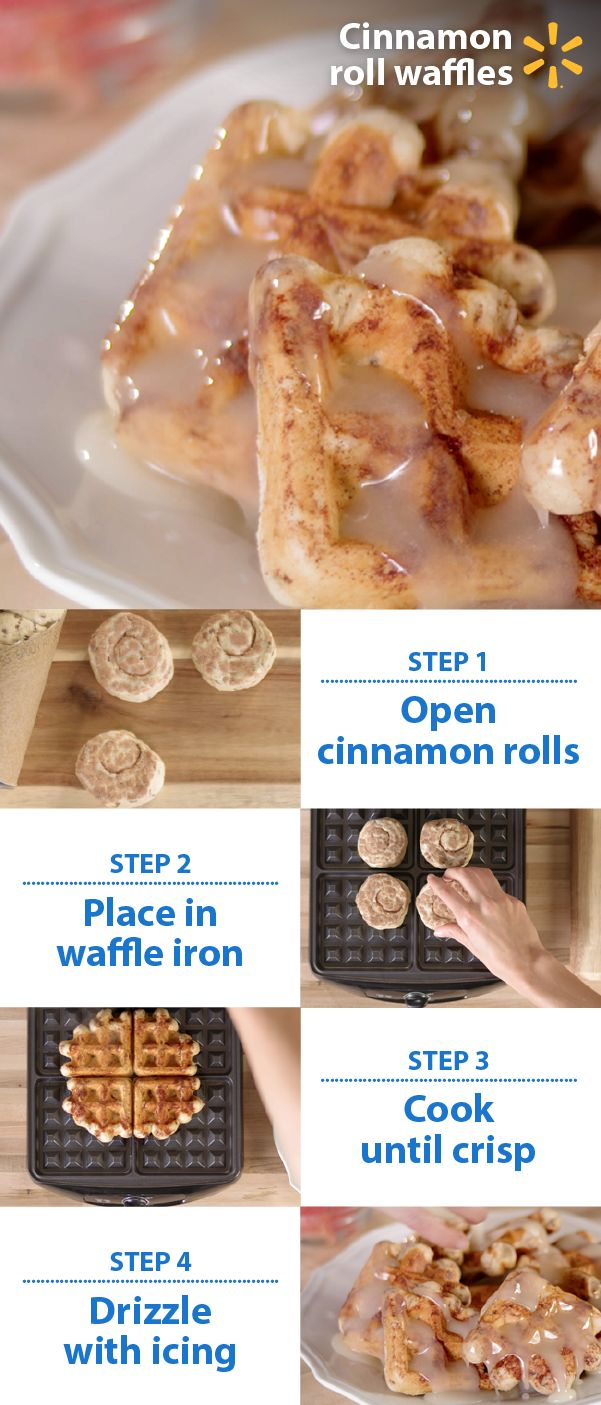 Cinnamon rolls are so last Christmas. Turn them into waffles! Free up time for family and presents by cooking up a special breakfast that won't take all morning. Create an impression with this simple new twist on traditional dishes. Using cinnamon roll dough rom Walmart, simply place four uncooked rolls on a waffle iron and press until cooked. Pour warm icing over the waffles instead of syrup. Check out more easy, affordable holiday food hacks for feeding friends and family.