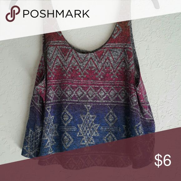Flowy Aztec Crop Top Never worn and still in great conditions. Tag says Large but can fit a Small better. Tops Crop Tops