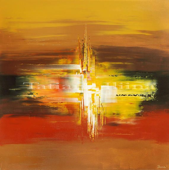 AGE OF ENLIGHTENMENT by Tatiana iliina, Warm tones fine art print on CANVAS of original abstract