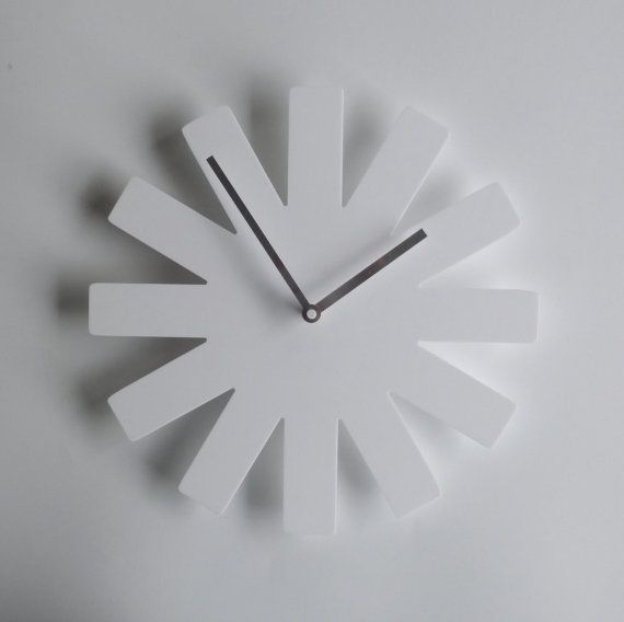 Minimalist white wall clock. Red Hot Chilli Peppers fans? These wall clocks are made from recyclable acrylic plastic.  Great for bedrooms, the kitchen or living room.  Dimensions: 50cm diameter (20