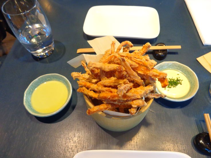 Sweet potato and soba-ko fries with sauces @ Restaurant Kurobuta Marble Arch