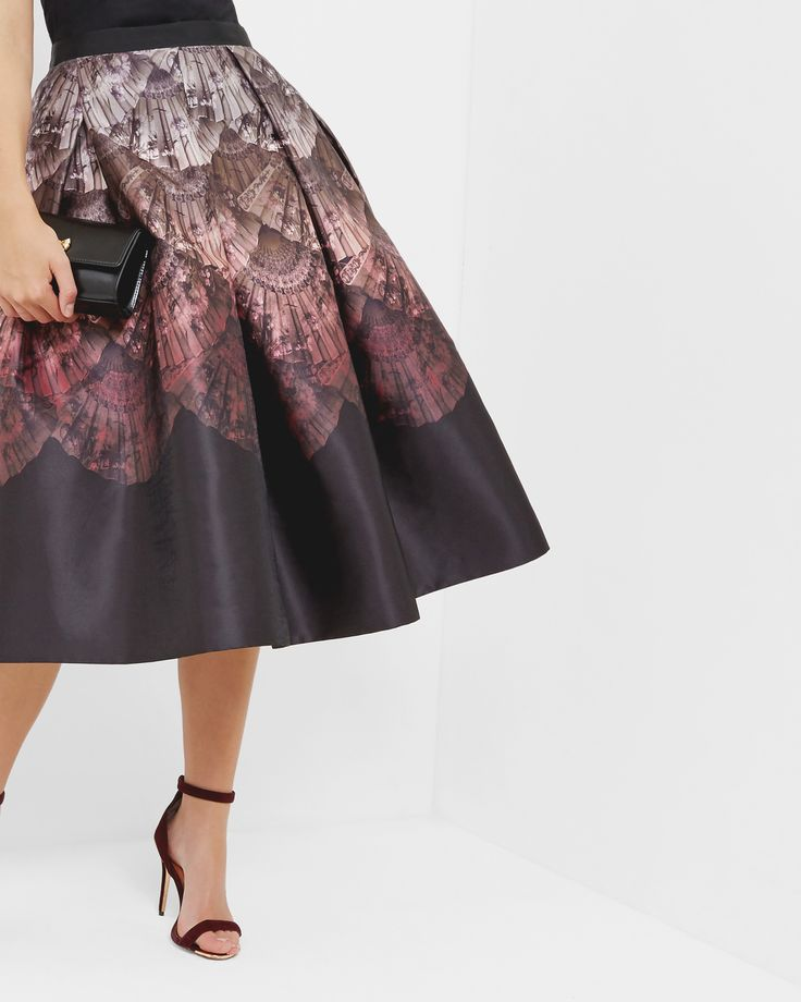 Ted Baker Fan Ombré full midi skirt Black