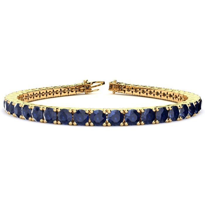 13 34 Carat Sapphire Tennis Bracelet In 14k Yellow Gold Available In 6 9 Inch Lengths Sports Online Shopping In 2020 Black Diamond Bracelet Sapphire Bracelet Tennis Bracelet