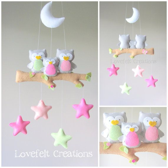 READY TO SHIP  Baby mobile  Owl mobile  Baby crib por LoveFeltXoXo, $140.00