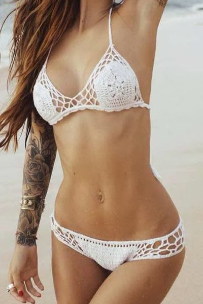 White Crochet Halter Bikini Set WHITE: Swimwear | ZAFUL