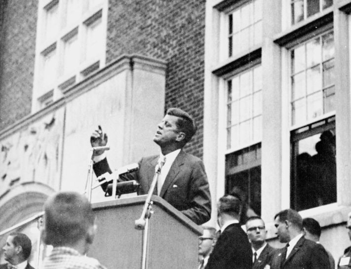 1960. John F. Kennedy addresses a crowd on the front porch of the MSU Union
