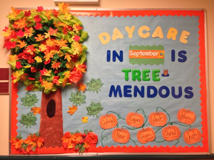 My fall daycare bulletin board. I just switch the months as they change. The pumpkins are the toddlers and the leaves are the infants!