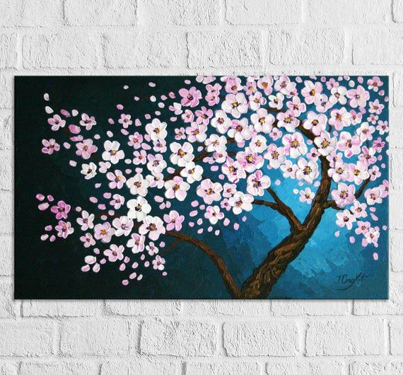 Cherry Blossom Tree Painting On Canvas Original Palette Knife Etsy Tree Painting Canvas Cherry Blossom Painting Tree Painting