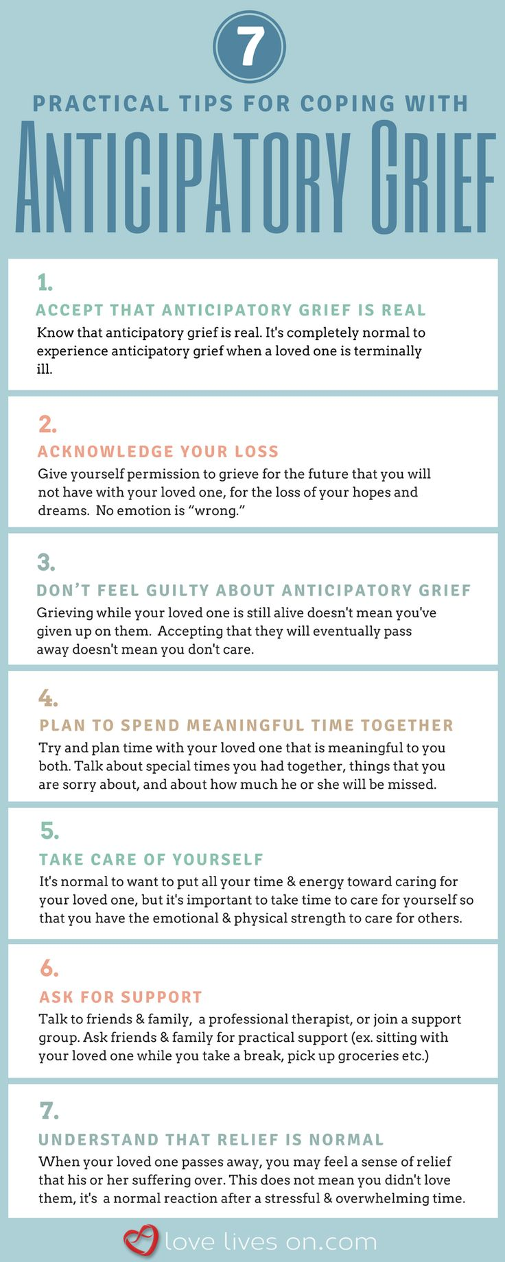Anticipatory Grief | Coping With a Loved One's Terminal Illness. 7 practical tips for coping with anticipatory grief when a loved one is terminally ill. Click to learn more about anticipatory grief & how to cope. Watch expert interviews on anticipatory grief.