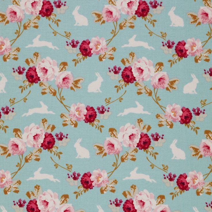 Tilda Memory Lane - Rabbit & Roses Teal £4 http://www.thehomemakery.co.uk/new-in/tilda-memory-lane-rabbit-roses-teal