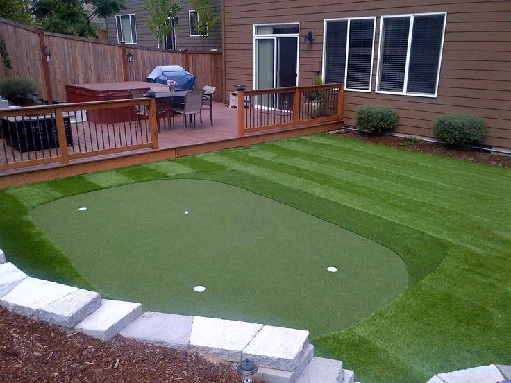 Trek Deck Turf Grass Fire Pit And Golf Putting Green Love Our Backyard How To Build A Synthetic Putting Gr Green Backyard Backyard Backyard Putting Green