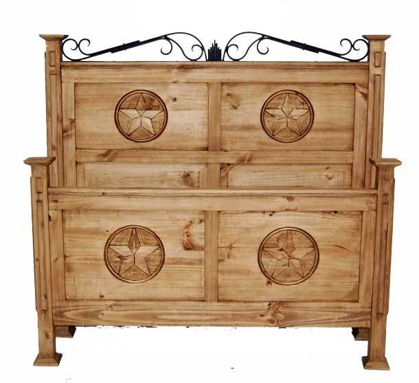 Full San Gabriel Bed W Star Rustic Furniture Great Western Furniture Co Bedroom Furniture
