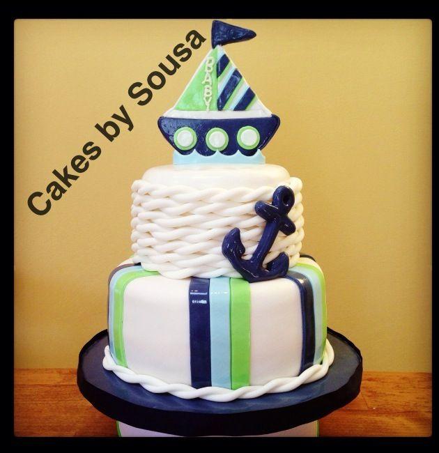 Nautical theme baby shower cake