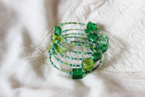 Fresh green memory wrap bracelet Light green beaded by EttarielArt
