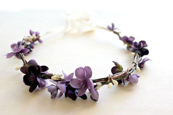 Plum Floral Crown. flower crown, Bohemian. Bridal.  Purple Flowers, Hair Crown. Woodland Wedding. Fall, Summer, Bridesmaids on Etsy, $35.00