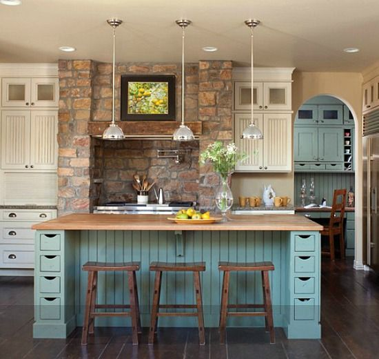 kitchen color scheme- cabinets/ shelves blue green, walls tan, wooden counter tops