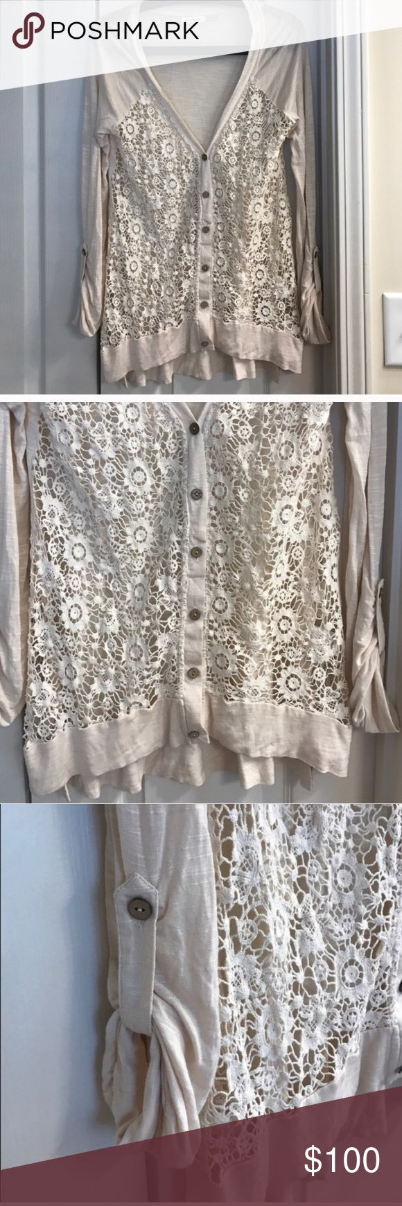 Size small beige lace floral Blu Pepper cardigan Size S beige lace floral Blu Pepper cardigan Blu Pepper Sweaters Cardigans