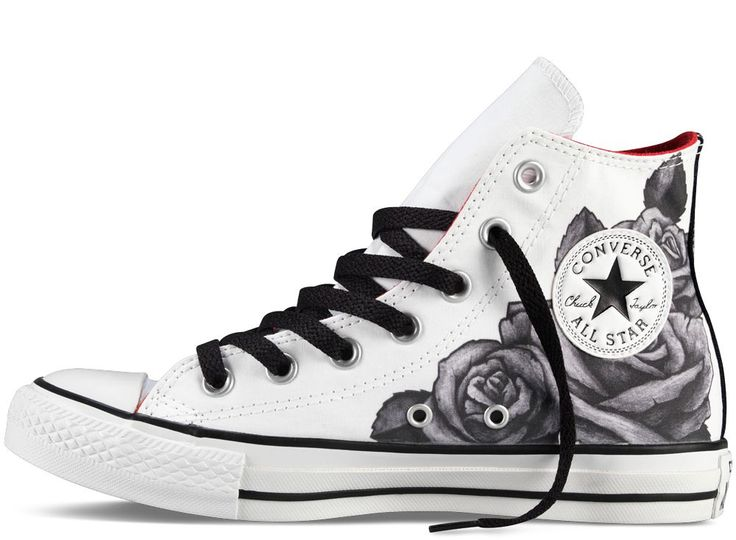 Converse white with black line art hi-tops