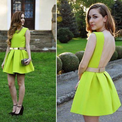 Neon Green Sleeveless Ruffle Backless Dress - Sheinside.com