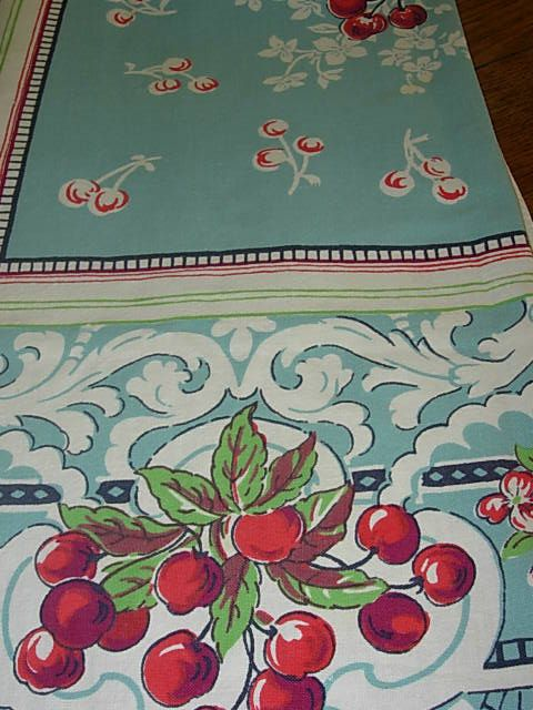 Vintage cherries tablecloth~ Cherries are one of my very favorite motifs~