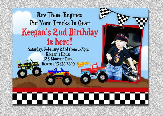 52 best monster truck birthday party images on pinterest | monster, Party invitations