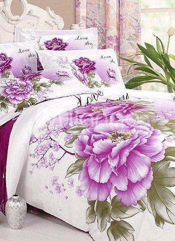 lingerie de lit violet et blanc en coton 4 pi ces avec impression florale bedding sets. Black Bedroom Furniture Sets. Home Design Ideas
